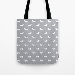 Dachshund pattern minimal grey and white dog lover home decor gifts accessories silhouette Tote Bag