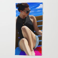 Blue Sun Beach Towel