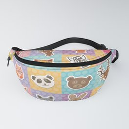 funny animals muzzle pattern with pink lilac blue orange square Fanny Pack