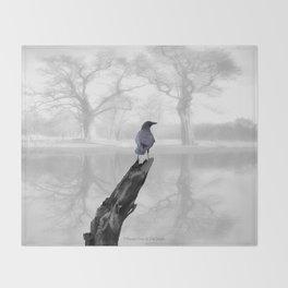 Crow On Misty Pond A114 Throw Blanket