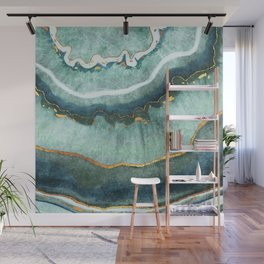 Gold Turquoise Agate Wall Mural