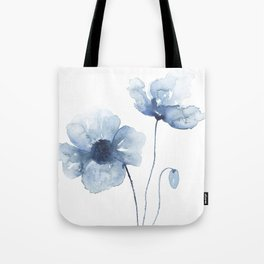 Blue Watercolor Poppies Tote Bag