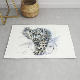 Watercolor Snow Leopard Rug