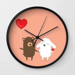 Cute cartoon bear and bunny rabbit holding hands Wall Clock