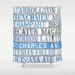 New Orleans Street Names Tile Art Word Typography Letters French Quarter Uptown Marigny Shower Curtain