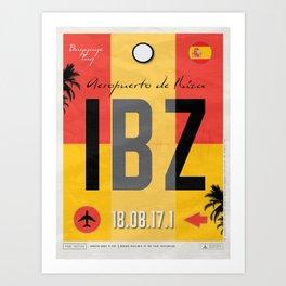 Vintage Ibiza Spain Luggage Tag Poster Art Print