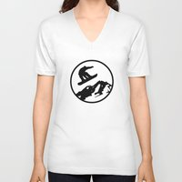 snowboarding V-neck T-shirts featuring snowboarding 1 by Paul Simms