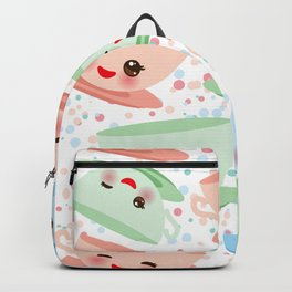 Cute blue pink green Kawai cup, coffee tea with pink cheeks and winking eyes, polka dot background Backpack