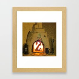 Kiva Fireplace Full On Framed Art Print