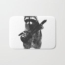 Raccoon wielding ukulele Bath Mat
