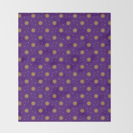 Astrological Purple Stars and Sun Throw Blanket