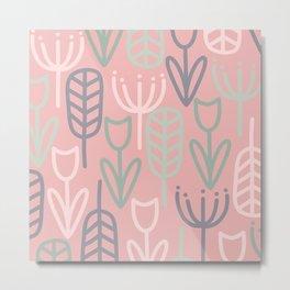 Cheerful Garden Minimalist Botanical Pattern in Sage Green, Lavender, and Pink Metal Print