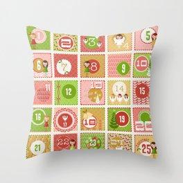 Merriment Christmas Advent Throw Pillow