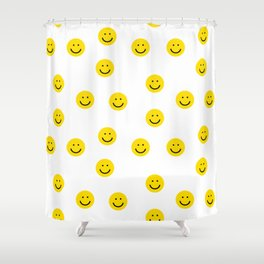 Smiley faces white yellow happy simple smiley pattern smile face kids nursery boys girls decor Shower Curtain