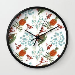 Australian Botanicals - White Wall Clock
