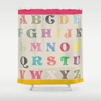 alphabet Shower Curtains featuring ALPHABET by TT Smith