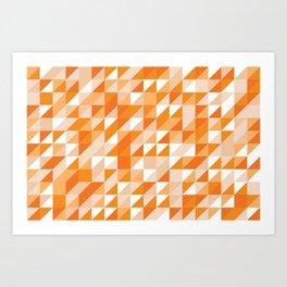 Geometric Triangle Grid in Orange Art Print