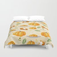 pumpkin Duvet Covers featuring pumpkin by Ceren Aksu Dikenci
