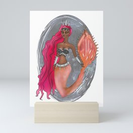 Black Leather and Rose Gold Spiked Warrior Princess Mermaid Mini Art Print