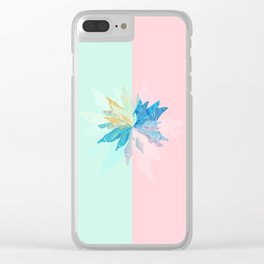 Floral Mint Pink Clear iPhone Case