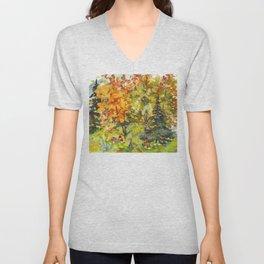 Watercolor Vivid Autumn Landscape Unisex V-Neck