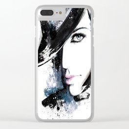 Fashion Beauty, Fashion Painting, Fashion IIlustration, Vogue Portrait, Black and White, #15 Clear iPhone Case