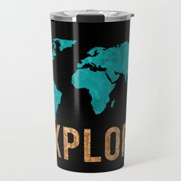 World Map - Teal and Copper Explore Globe Travel Mug