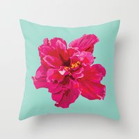 hibiscus Throw Pillows featuring Hibiscus by Jen Montgomery