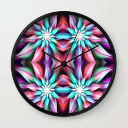 Colorful Mirrored Flowers Wall Clock