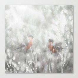 Bullfinch Birds Sitt On The Fence In Grey Winter Day Xmas #decor #society6 Canvas Print