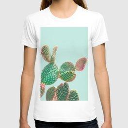Pastel Cactus on Teal T-shirt