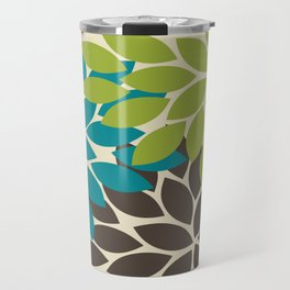 Bold Colorful Biege Brown Teal Green Dahlia Flower Burst Petals Travel Mug