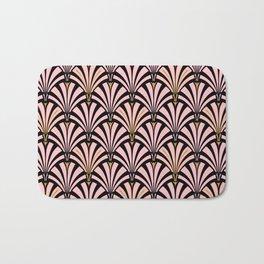 Art Deco Fan Pattern, Pastel Peach on Black Bath Mat