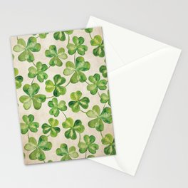 Watercolor Shamrock Pattern on White Stationery Cards