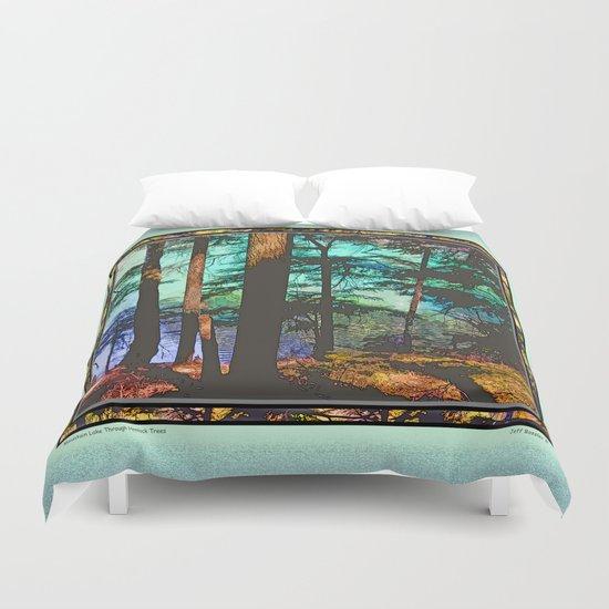 MOUNTAIN LAKE THROUGH HEMLOCK TREES Duvet Cover