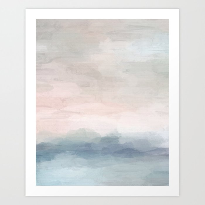 Blush Pink Mint Sky Baby Blue Abstract Ocean Sky Sunrise Wall Art, Water Clouds Painting Kunstdrucke