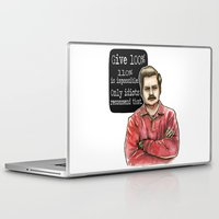 ron swanson Laptop & iPad Skins featuring Ron Swanson by Tiffany Willis