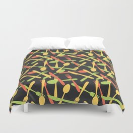 Cutlery kitchen silverware colored Duvet Cover