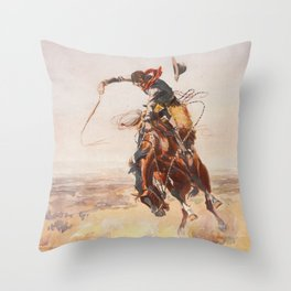 A Bad Hoss by Charles Marion Russell (c 1904) Throw Pillow