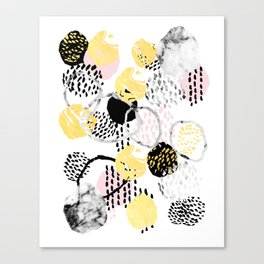 Amalia - gold abstract black and white glitter foil art print texture ink brushstroke modern minimal Canvas Print