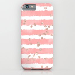 Rose gold confetti pink blush watercolor stripes modern chic pattern iPhone Case
