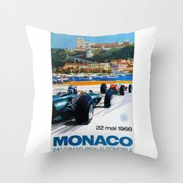 Gran Prix de Monaco, 1966, original vintage poster Throw Pillow