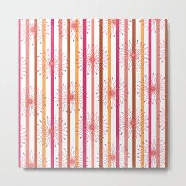 Summer Stripe and Floral Print Metal Print
