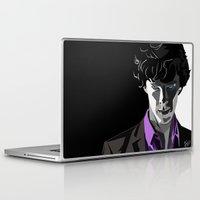 sherlock holmes Laptop & iPad Skins featuring Sherlock Holmes Portrait by Schwebewesen • Romina Lutz