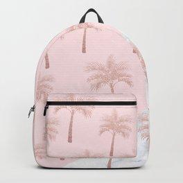 Elegant rose gold glitter palm pattern, white marble & pink Backpack