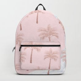 Elegant rose gold glitter palm pattern, white marble & pink Backpack
