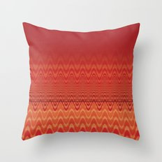 Bright Orange Ombre Chevron Wave Fade Out Throw Pillow