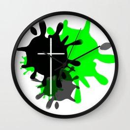Cross Splash (Green) Wall Clock