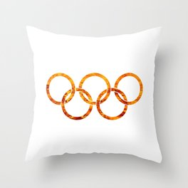 Flaming Olympic Rings Throw Pillow