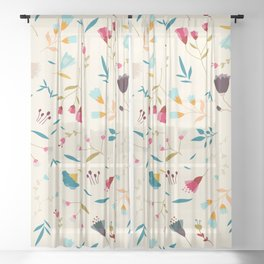 Colorful Tossed Summer Flowers Sheer Curtain